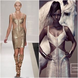 XS Herve Leger Gold Cora Cutout Dress RARE $2800